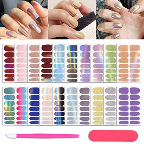 20 Sheets Solid Color Gel Nail Polish Stickers Glitter Nail Strips Self-Adhesive Fake Nails Art Street Decal Design Translucent Nail Wraps Manicure Set with Nail File Pusher for Women Girls