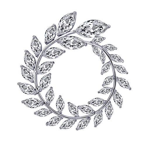 綺麗な葉ブローチ清新感アップ欧米 な胸飾りダイヤモンドコサージュ結婚式卒業式入学式記念日お誕生日クリスマスの贈り物ギフトBOX付き (ゴールド)