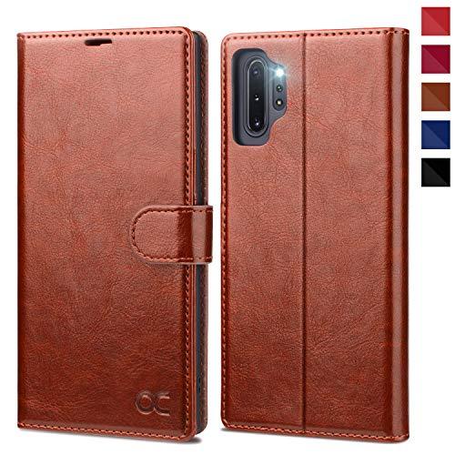 OCASE Hülle Handyhülle Samsung Galaxy Note 10+ Plus 5G [Premium PU Leder][Kartenfach][Magnetverschluss] Handytasche Etui Schutzhülle für Samsung Note10+ Plus Cover Braun
