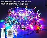 Cadena de luces LED para árbol de Navidad, tira musical 100 LED electrica y con pilas,...