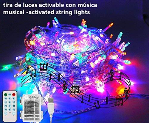 100 LED-Lichterkette, batteriebetrieben, schleimbetrieben, 10 m, 12 Modi, Lichterkette für Partys, Hochzeiten, Weihnachten, Halloween, Hintergrund mehrfarbig
