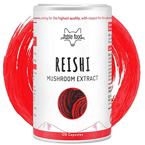 fable food Reishi Extrakt, 120 Kapseln hochdosiert a 500 mg Pilz Extrakt Pulver, 200 mg (40%) bioaktive Polysaccharide pro Kasel, 4 Monatsvorrat hergestellt in Deutschland