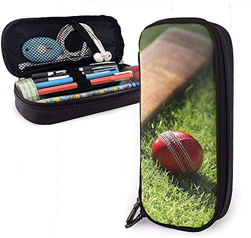 PU Leather Pencil Case with Zipper, Cricket Bat Pen Holder, Cosmetic Makeup Bag, Stationery Organizer Pencil Pouch