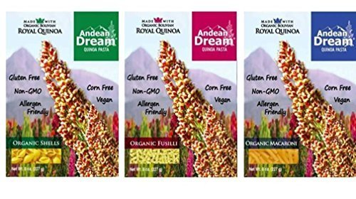 Andean Dream Organic Vegan Gluten Free Quinoa Pasta 3 Flavor Variety Bundle: (1) Andean Dream Shells, (1) Andean Dream Fusilli, and (1) Andean Dream Macaroni, 8 Oz. Ea.