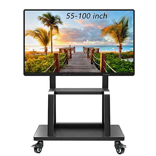 ZAQI Mobile TV Cart, Rolling TV Stand with Laptop Shelf, Locking Wheels for 55-100 inch LCD LED OLED Plasma Display Trolley, Black