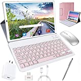 Tablet 10 Inch, Android 10.0 Pie Tablets with Wireless Keyboard Case and Mouse, 4GB RAM 64GB ROM, Quad Core, Google GMS Certified, IPS HD Display, 8MP Dual Camera, Dual 4G SIM, 8000mAh, WiFi - Pink