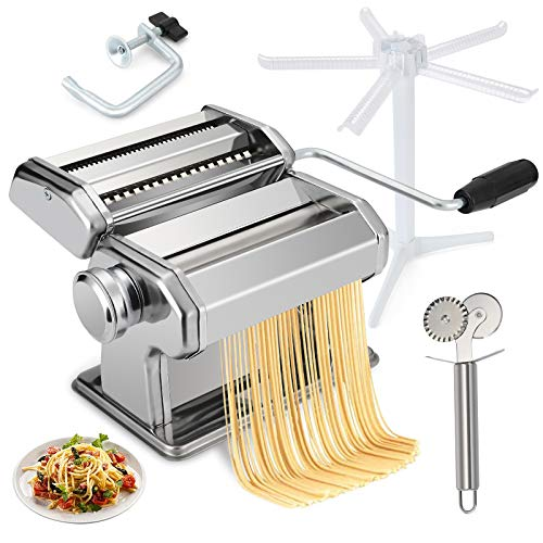 easy pasta doughs lolozest Pasta Maker Machine Manual Hand Crank, Noodle Makers with 9 Thickness Settings Dough Roller and 3 Blades, Sturdy Noodles Cutter and Drying Rack for Homemade Spaghetti Fettuccini Lasagna