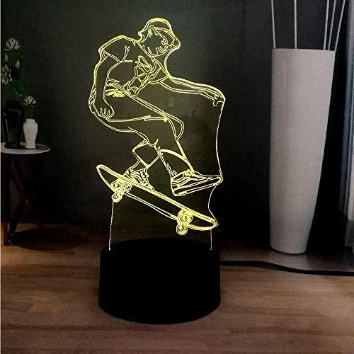 3D Sport Roller Boy 7 Farbwechsel LED Dekoration Atmosphäre Stehtisch Lampe Schlafzimmer Nachtlicht Kinder Geschenk Spielzeug