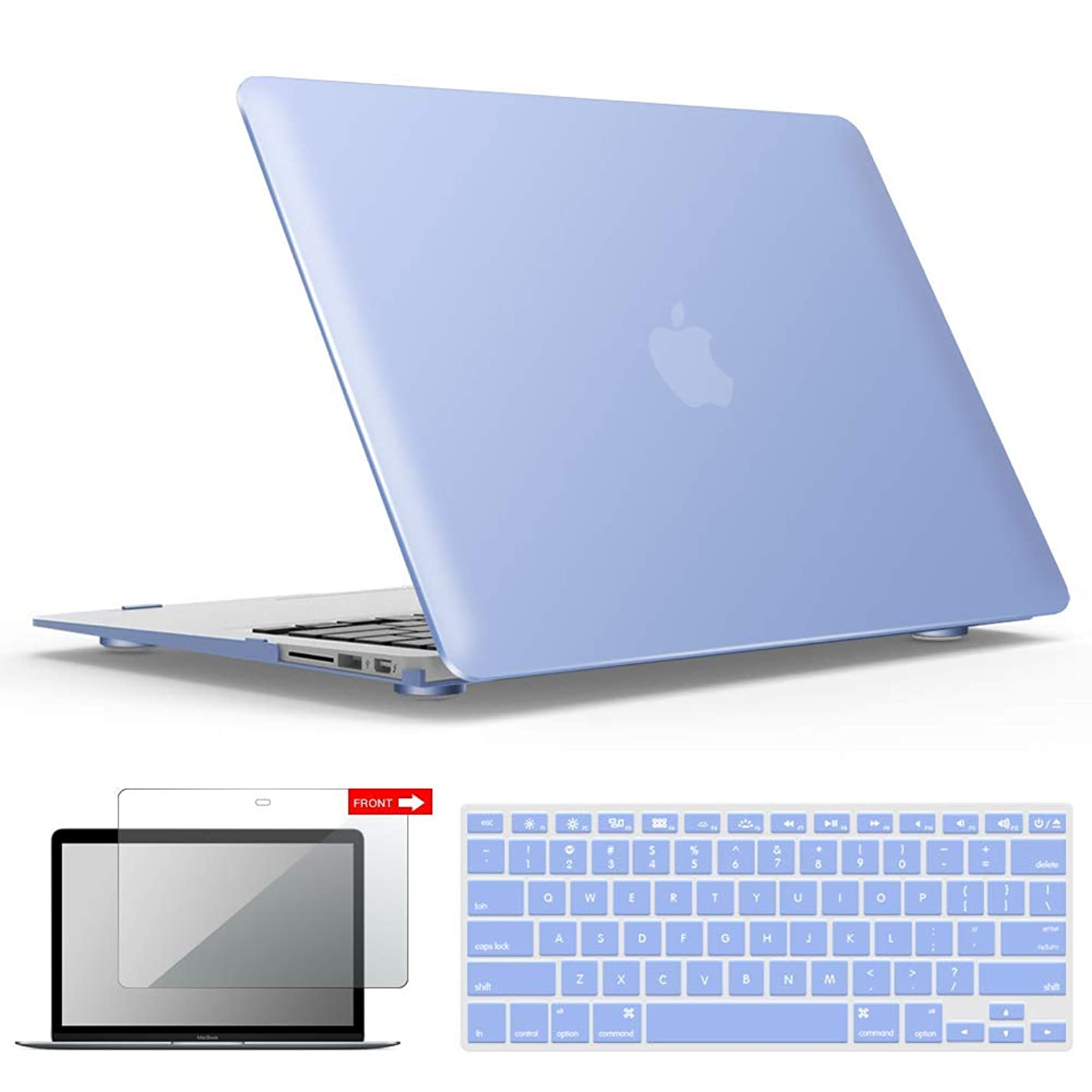 IBENZER MacBook Air 13 Inch Case, Soft Touch Hard Case Shell Cover with Keyboard Cover Screen Protector for Apple MacBook Air 13 A1369 1466 NO Touch ID, Serenity Blue,MMA1301SRL+2 xg27001794