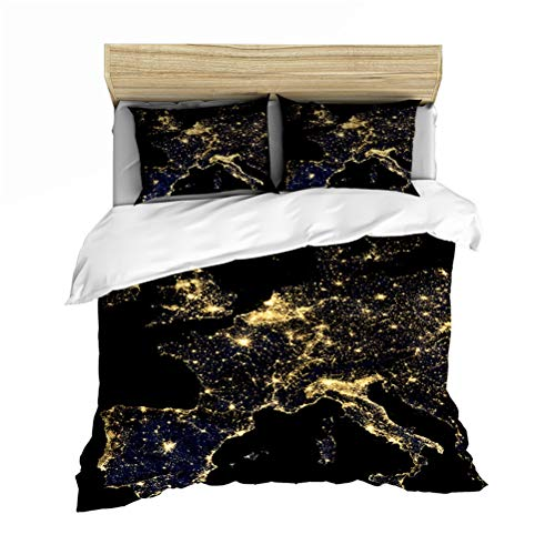 Weltkarte Bettwäsche Bettbezug-Set, Mikrofaser weiche bunte Karte Bettbezug Single Double King Bedding Set mit 2 Pillowcase 50 x 75cm,Map1,200cm×200cm