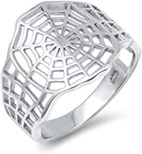 North Arrow Shop Spider Web Ring Sterling Silver, High Polish Gothic Jewelry