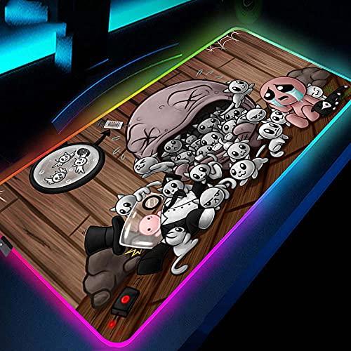Alfombrilla de ratón para videojuegos Anime Hollow Knight RGB Mouse Pad XXL LED con bordes cosidos duraderos, almohadilla de juego brillante de gran tamaño para gamer-400 x 900 mm