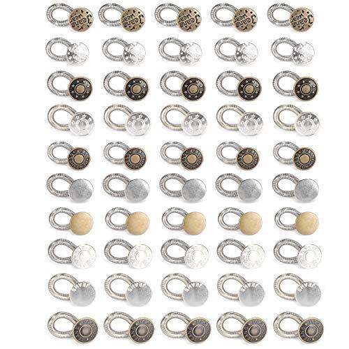 Alfileres de botón, 50 piezas Alfileres de botón Pantalones vaqueros Herramienta de ajuste desmontable para cambio de cintura sin uñas universal