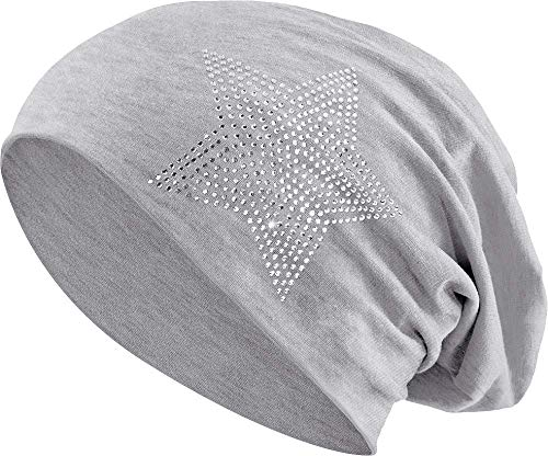 Jersey Baumwolle elastisches Long Slouch Beanie Unisex Herren Damen mit Strass Stern Steinen Mütze Heather in 35 (2) (Heather Light Grey)