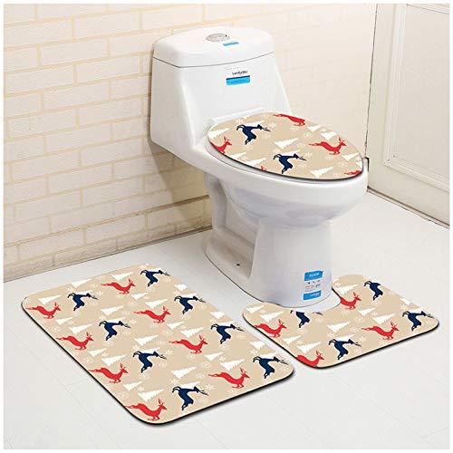 WDDGPZYD WC-Matte Décor De Noël 3 Pcs Tapis De Bain Ensemble Tapis Antidérapants Tapis De Toilette Tapis De Toilette Absorbant Couvercle Couvercle Toilette Tapis De Bain