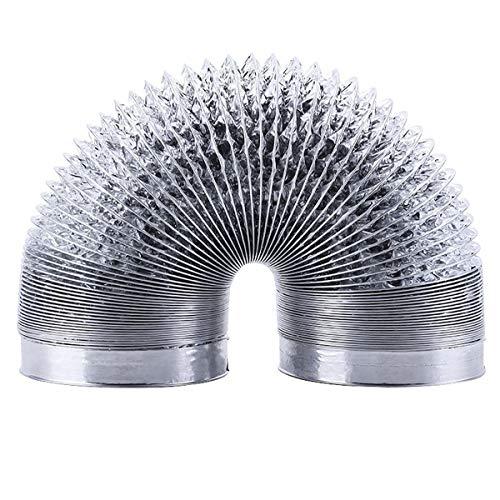 Moonjor Ø150mm Condotto di Ventilazione in Doppio Argento Alluminio, Tubo Condotto Aria Flessibile per Aerazione Domestica Hydroponics HVAC Aerazione- Lunghezza 3 (ø150mm*3m, Argento)