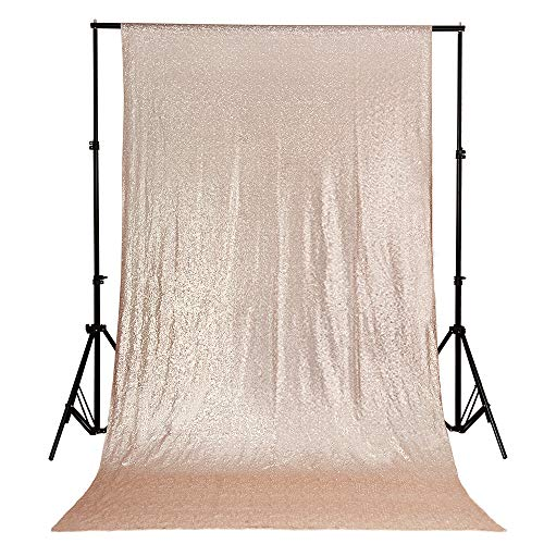 QueenDream 4ftx6.5ft Champagne Ceremony Background Sequin Backdrop for Wedding Fabric