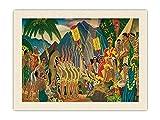 Pacifica Island Art Pomp and Circumstance - Hanohano Hawaiian Ceremony - Matson Menu - Cubierta de menú vintage para el océano por Eugene Savage c.1930s - Tela de tela orgánica RAW de 45,7 x 61 cm