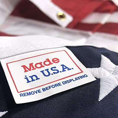 American Flag 3x5 - Made in USA Nylon Outdoor US Flag with UV Protected Colors Embroidered Stars Durable Sewn Stripes Quadruple Stitching on The Fly End