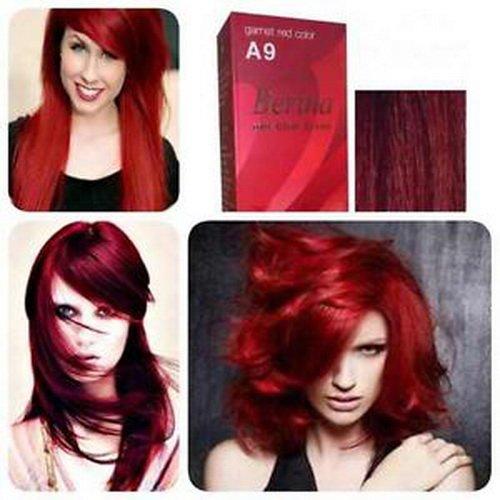 Pack of 1 Set Berina Garnet Red Hair Dye A9 Hair Color Cream Dye 60G Super Permanent Fashion Unisex