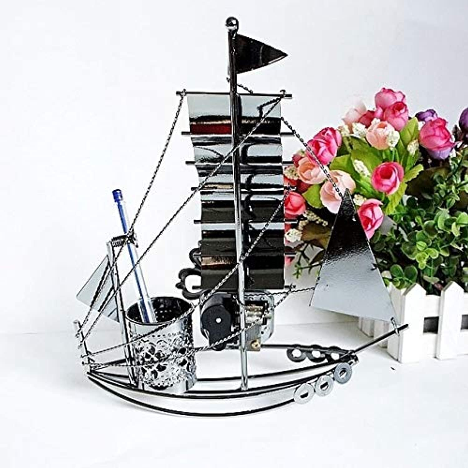 Zamtac Wrought Iron Sailboat Pen Decoration Home Office Computer Desk Decoration Crafts Teacher Teacher Boyfriend Gift WL5191447 - (color  Style C)