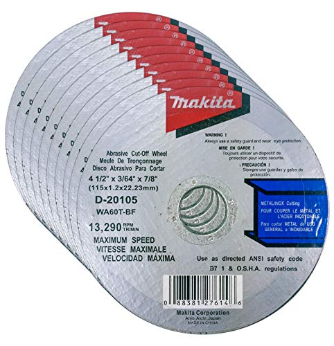 Makita 10 Pack - 4.5' Cut Off Wheels For Grinders - Aggressive Cutting For Metal & Stainless Steel/INOX - 4-1/2' x .045 x 7/8-Inch