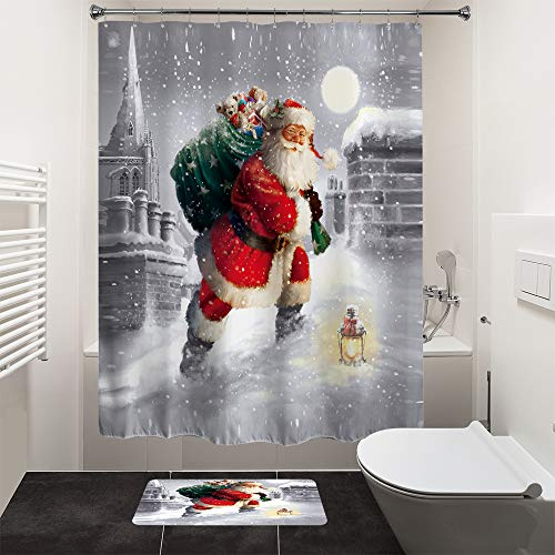 HIYOO Christmas Xmas New Year Theme Shower Curtain for Bathroom Decorations, Waterproof Polyester Fabric, Vibrant Colors, Soft to Touch 60