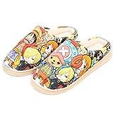 Zapatillas para Hombre y Mujer Pantuflas Cosplay de Anime Japonés para ONE PIECE Monkey D. Luffy Tony Tony Chopper Zapatos de lana de coral para uso en Interiores y Exteriores,Vistoso,43/44EU
