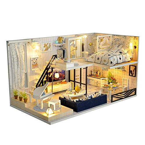 UniHobby DIY Dollhouse Kit, Wooden Dollhouse with LED Lights Furniture Dust Proof 1:24 Scale STEM Building Toys Mini Doll House Gifts for Girls Friends Boys Mom Wife Daughter and Friends