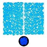 Foneeus Aquarium Decorations Fish Tank Rocks, 100 Pcs Blue Glow in The Dark Aquarium Gravel Decor, Decorative Rock Stones for Betta Fish Tank, Bonsai Plant Pots, Resin Pebbles Accessories