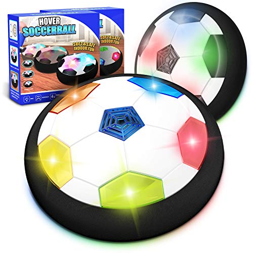 Kids Toys Hover Soccer Ball Set of 2, Battery Operated Air Floating Soccer Ball with LED Light and Soft Foam Bumper, Indoor Outdoor Training Football Game Age 2 3 4 5 6 7 8-16 Year Old Boys Girls Gift