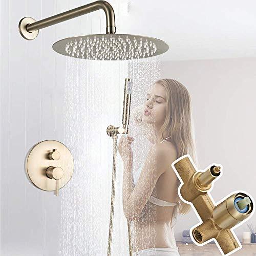 SHATONG Water-Tap Bath Shower Systems Grifo Mezclador de Ducha Dorado Cepillado Juego de grifería de Ducha de Lluvia Oculta en la Pared Mezclador de Ducha de latón VAE, 16 Pulgadas, 16 Pulgadas