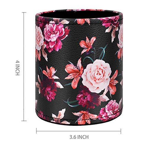 Pen Pencil Holder, WAVEYU Floral Flower Pattern Pen Cup Container PU Leather Desk Organizer Stand Decor Brush Scissor Holder Desk Organizer Decoration for Office Desk Home Decorative, Floral Photo #5