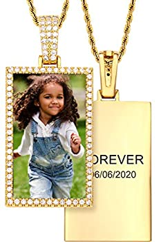 TUHE Personalized Hip Hop Custom Picture & Text Pendant Necklace 18K Gold or Platinum Plated AAA CZ Iced Out Small Square Photo Necklace for Men Women Memory Chain Necklace Customized Rope/Tennis