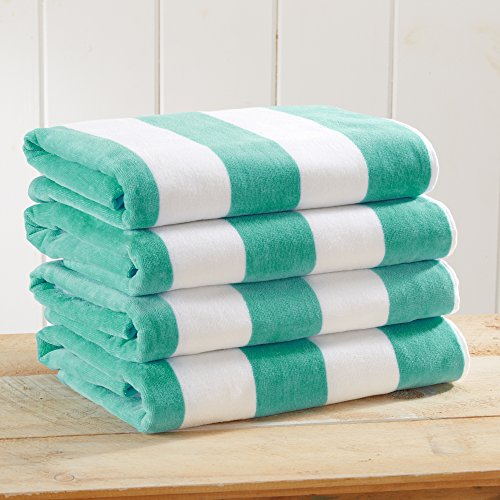 4 Pack Plush Velour 100% Cotton Beach Towels. Cabana Stripe Pool Towels for Adults. (Teal, 4 Pack- 30
