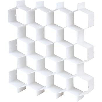 引き出し仕切り板 蜂の巣形仕切り板 下着・ネクタイ・靴下を収納 小物収納 組み合わせ自由 (ホワイト)