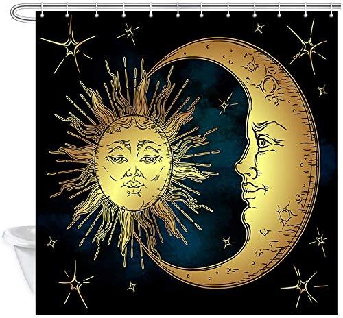 XCBN Rideau de Douche d'art inspiré du Genre Lune dorée et Rideau d'étoile Bleue Rideau de Douche décoratif de Style rétro A1 150x200cm