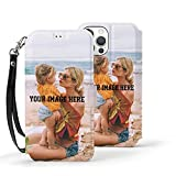 Personalized Custom Case for iPhone 12 Mini with Picture Wallet Protective Case with Card Holder Wrist Strap