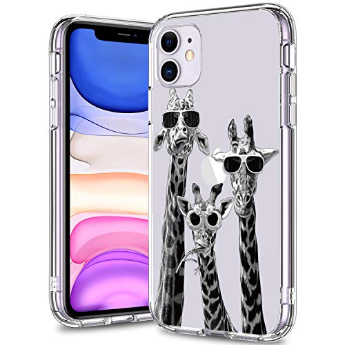 BICOL iPhone 11 Case Clear with Design for Girls Women,12ft Drop Tested,Military Grade Shockproof,Slip Resistant Slim Fit Protective Phone Case for Apple iPhone 11 6.1 inch 2019 Cool Giraffe