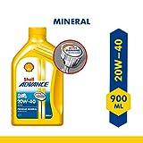 Shell Advance AX5 4T 20W-40 API SL Premium Mineral Motorbike Engine Oil (900 ml)