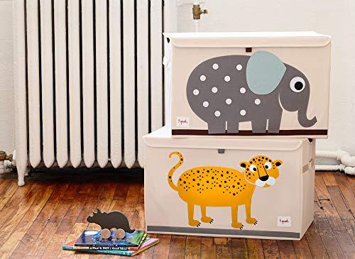 3 Sprouts - Spielzeugtruhe für Kinder - Ablagetruhe für Jungen- und Mädchenzimmer, Leopard - 3
