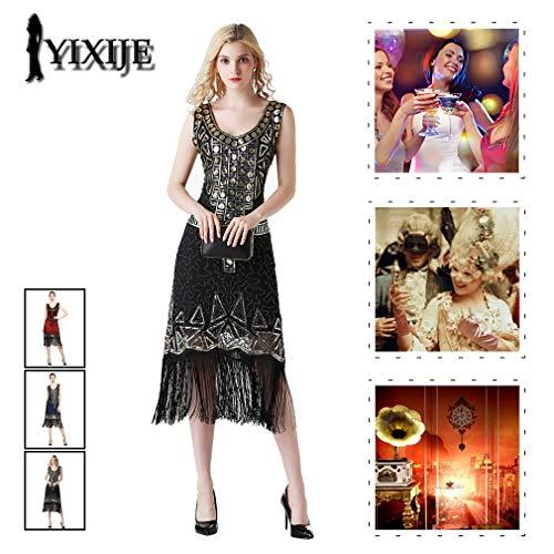 YIXIJIE Dames Vintage Flapper Jurk, Geweldige Gatsby Feestjurk - Geweldig voor Feestfeest/Feestjurk/Gatsby Party