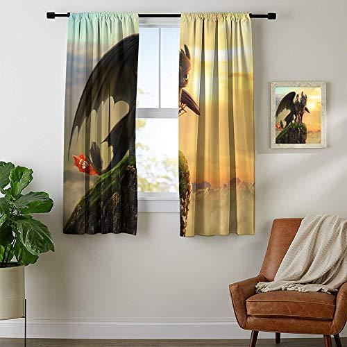 Vorhänge für Wohnzimmer Drachenzähmen Wasserdichter Fenstervorhang Langlebiger Stoff W55 x L63 Maschinenwaschbar