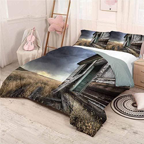 Rustic Bedding Sets California King, Microfiber Sheet Set 3 Piece Bed Sheets Wooden Farmhouse in Field Soft Bedding - California King 104'x98'