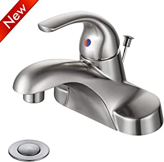 WOWOW Bathroom Faucet 1 Handle Low Arc Single Handle 4 inch Centerset Bathroom Sink Faucet with Pop Up Drain Assembly Basin Mixer Tap Brushed Nickel Vanity Faucets