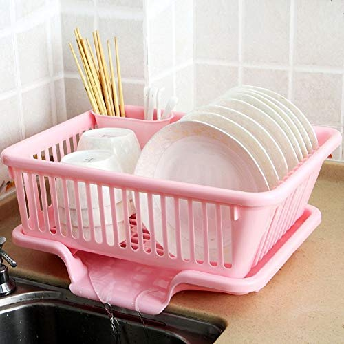 Micaza Küche Dish Drainer Rack Und Tray Set, Kunststoff Gericht Wäscheständer Sink Side Geschirrablage Drainer-Regal Dish-Rack Für Besteck Schalen-k Groß