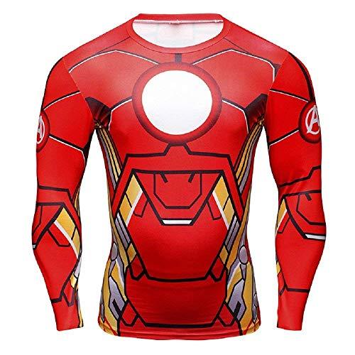 Inception Pro Infinite Maglia T-Shirt Sportiva Manica Lunga con Stampa Iron Man per Uomo - (XXXXL)