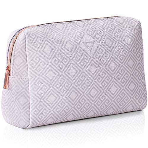 Design de Valeur Extra Large Makeup Bag. Sturdy Vegan Leather. Luxurious & Portable Zippered Cosmetic Pouch, Big & Cute Travel Toiletry Bag for Women. Best for Organizing Makeup & Skincare Item