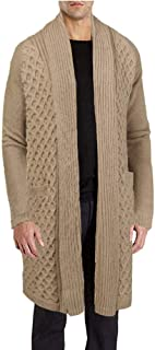 COOFANDY Men's Cardigan Sweater Long Twist Knit Jacket Thermal Shawl Collar Coat