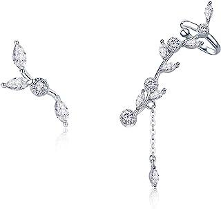 BAMOER 925 Sterling Silver Ear Crawler - Cuff Earrings Cubic Zirconia Ear Climber Earrings For Women